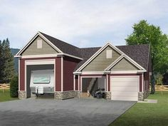 Plan 68491VR: RV Garage for an Up-Sloping Lot   Rv garage, Rv and ...