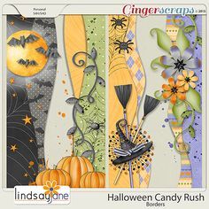 Embellishments :: Halloween Candy Rush Borders by Lindsay Jane Scrapbook Borders, Scrapbook Embellishments, Scrapbook Page Layouts, Scrapbook Paper Crafts, Scrapbook Cards, Scrapbook Albums, Scrapbooking Ideas, Halloween Borders, Halloween Tags
