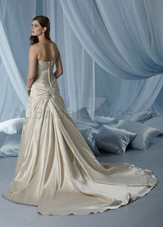 Satin Strapless Softly Curved Neckline Gathered Bodice A-line Wedding Dress