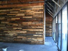 Custom pallet wall installed at Founders Restaurant - reclaimed wood