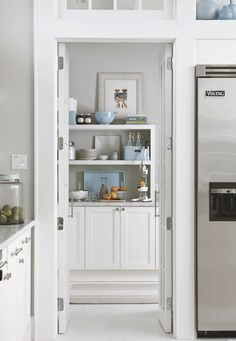 walk-in pantry featured here by Traditional Home. 9x8-foot walk-in pantry that keeps the main kitchen virtually clutter-free. The pantry also acts as a handy breakfast zone, with the coffeemaker, toaster, and other supplies stored there.