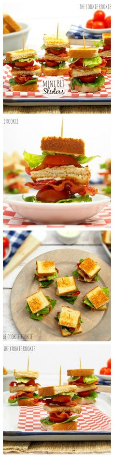 The Classics are the best, mini BLT sliders Appetizers For Party, Appetizer Recipes, Sandwich Recipes, Mini Blt, Slider Recipes, Brunch Party, Mini Foods, Snacks, High Tea