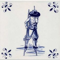 OLD DUTCH TILE DELFT BLUE 15 X 15 CM STILT-WALKER - Tiles - Holland Souvenir Shop