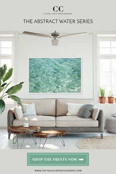 Seafoam green glittering water art print in a bright and cozy living room Coastal Wall Decor, Beach House Decor, Beach Condo, Home Decor, Cozy Living Rooms, Coastal Living, Ocean Photography, Apartment Interior Design, Large Wall Art