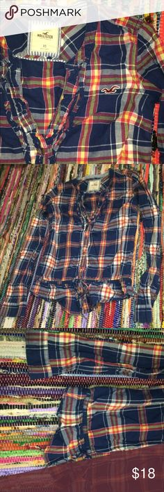 Hollister Button Up Blouse XS Chic Plaid Genuine Hollister plaid Button up that is much to tiny for me to wear! Great style and vibrant color, great condition, no damages. Hollister Tops Button Down Shirts