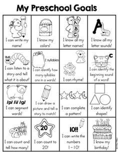 Pre-Kindergarten Goals Sheet by Melissa Moran Preschool Assessment, Homeschool Preschool Curriculum, Preschool Schedule, Preschool Prep, Preschool Lesson Plans, Preschool Learning Activities, Preschool Worksheets, Home School Preschool, Pre K Curriculum