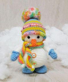 muñeco de nieve de ganchillo amigurumi libre patrón