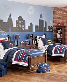 Super hero themed boys room. Love the bed set from Pottery Barn.