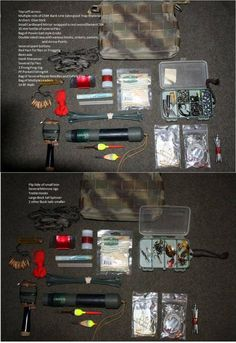 Pictures from Dave Canterbury's First Book. Concerning a repair and fishing kit.