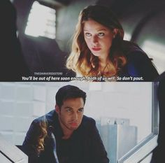 """Kara and Mon-El. This scene is basically why I'm giving Supergirl a (second) second chance. I kinda hated S1, thought for sure CW would do better, but got disgusted when they knocked out Kara/James right away (I LOATHE the idea of Kara/Winn). I came back only for the crossover, but this part made me """"awww!"""" By the episode's end, I knew I had to go back and see what I'd missed (2x03-2x07). 