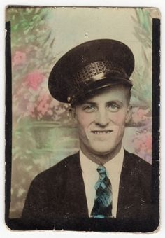 Photo Booth... Man wearing a Bus Driver hat