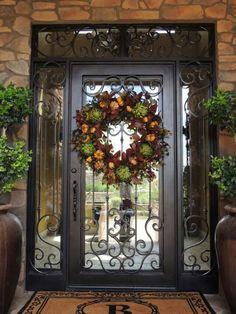 New Front Door Design Grand Entrance Wrought Iron Ideas Front Door Christmas Decorations, Christmas Entryway, Christmas Door, Exterior Doors, Entry Doors, Tuscan Decorating, Door Decorating, Decorating Ideas, Front Door Design