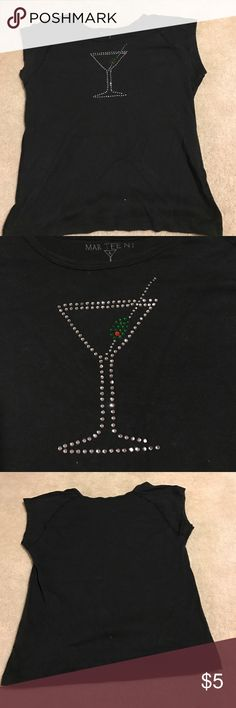 🍸Mar Tee NI shirt 🍸 Cute martini shirt with crystals. One crystal missing on bottom see pic! Size large but fits like a small!! Tops Tees - Short Sleeve