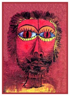 The Bandits Head by Expressionist Artist Paul Klee Counted Cross Stitch or Counted Needlepoint Pattern