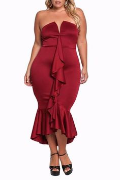 Burgundy Strapless Cascading Ruffle Plus Size Party Dress