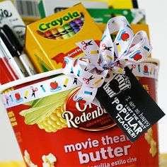 Back to school teacher gift idea! Free printable gift tag to pair with popcorn. #print #backtoschool #teacher skiptomylou.org