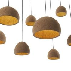 Benjamin Hubert has designed Float, a pendant lamp in cork. Each lamp is hand made, turned by hand into a robust bell shape. The material is Portuguese cork. Cork Lighting, Industrial Lighting, Pendant Lighting, Pendant Lamps, Light Pendant, Round Pendant, Mini Pendant, Lighting Ideas, Light Fittings