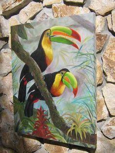 TOUCAN Birds in Tree - ORIGINAL PAINTING 24x30 inch