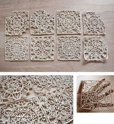these Ceramic lace tiles are incredible the detail that whet into them is breath taking.Beautiful Clay lace by artist, Jessica PezellaCeramic lace Faulkner didn't know if you could do this with your polymer clay.not exactly lace but beautifulCeramic Clay Tiles, Ceramic Clay, Ceramic Pottery, Pottery Art, Slab Pottery, Pottery Ideas, Ceramic Techniques, Pottery Techniques, Keramik Design