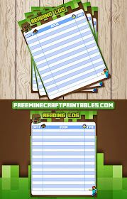 Free Minecraft Printables: Free Printable Minecraft Reading Log