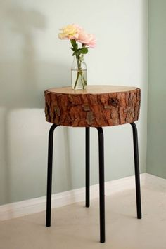 Furniture Magnificent Pine Wood Tree Stump Side Table With Black Iron Four Leg Also Beige Fabric Carpet And Grey Painted Wall Color Natural Creative Tree Stump Side Table Ideas Furniture, Table, Home Accessories, Interior Design tree stump table with succulents. tree stump into table. tree stump table vancouver.