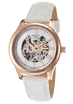 Rotary Automatic White Genuine Leather And Skeletonize Dial - $109.99