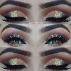 Gold Glitter Eye Makeup Idea for Green Eyes