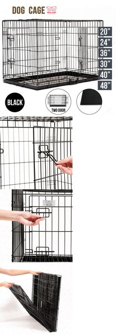 Cages and Enclosure 63108: 20 24 30 36 42 48 Folding Dog Cage Crate 2 Doors Wire Metal Kennel W Divide -> BUY IT NOW ONLY: $31.9 on eBay!