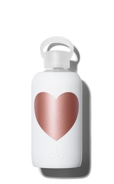"""This water bottle with metallic rose gold heart is the perfect for the """"green"""" romantic in your life."""