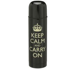 Keep calm carry on keep calm black thermos (Hard to Find Monochrome Style)