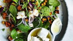 Pumpkin, spinach and roasted chickpea salad
