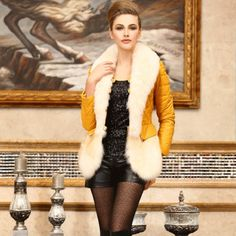 Winter Fox Sheep Long Sleeve Fur Coat Yellow
