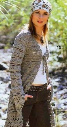 Women - Free knitting patterns and crochet patterns by DROPS Design Cardigan Au Crochet, Gilet Crochet, Crochet Jacket, Crochet Blouse, Crochet Cardigan, Crochet Shawl, Knit Crochet, Long Cardigan, Crochet Sweaters