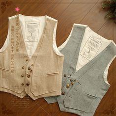 retro double breasted suihua buckle solid color cotton linen vest vest waistcoat 8,605 Fashion Vest, Cuddles, Cotton Linen, Double Breasted, Girly, Retro, Jackets, Color, Tops