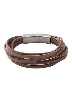 Armband, Fossil, »JF86202«. Lässiges, braunes Rindslederarmband zum Selbstkürzen, im »Vintagestil«, mit Clipverschluss aus Edelstahl. Einstellbare Länge bei ca. 20,5 cm und ca. 22,0 cm. Dieses Armband ist durch ein selbstständig herausnehmbares Element verstellbar. Lieferung in einer Fossil-Verpackung....