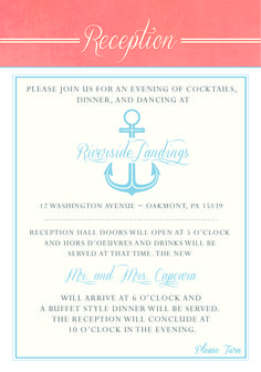 Nautical Wedding Invitations - Reception Card. Pocket Folder/Layered Style. Blue and Coral. Designed by info@gkprints.com