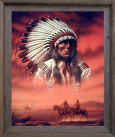Indian Chief with Wolf Native American Picture Mahogany Framed Wall Decor 18x22