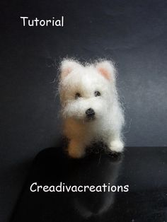 Pdf pattern to make your own miniature Westie dog A mix of short hair and long hair. Very clear tutorial: 8 pages and about 40 pictures.  Note this is only for the tutorial, there is no material or dog included.  Material list: Wool in colours white, little bit of black Felting needle and felting mat Wire crafting chalk (black and pink fleshtone) but you can also use wool for this. scissors  I am always available on etsy to answer any questions you have by making this little dog.