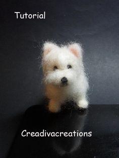 Tutorial needle felted dog, West Highland terrier, Westie, needle felted Westie…