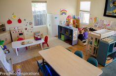 Come take a peek inside my in home preschool. We designated a living room of our house to be our exclusive homeschool and preschool room. Preschool Inspirations home living room How I Created a Calm and Inviting Preschool Classroom Preschool Set Up, Preschool Classroom Setup, Daycare Setup, Daycare Design, Preschool Rooms, Toddler Classroom, Classroom Setting, Classroom Design, Calm Classroom