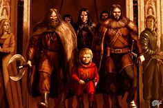 Tyrion with Shagga and the mountain clansmen before the battle on the Green Fork - by Amok ©