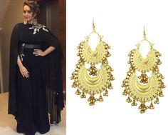 Sonakshi Sinha in Ritika Sachdeva earrings #perniaspopupshop #shopnow #celebritycloset #designer #clothing #accessories
