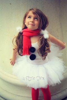 Snowgirl Tutu Set 4 pcs - Tutu, scarf, white top w/ blk pom poms and top hat on headbands on Etsy, $48.00