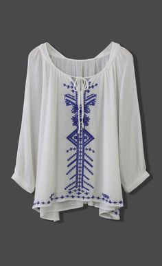 Boho Blue Stitch Embroidery Top
