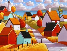 Town Ocean Road, 8x11 Folk Art Print, Lighthouse Coastal Summer Cottage Landscape, Giclee Reproduction Wall Decor Artwork by Artist Horvath