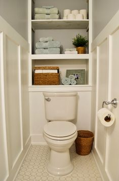 724 south house bathroom storage grey bath board and batten bathroom ideas Toilet Storage, Small Bathroom Storage, Bathroom Shelves, Bathroom Cabinets, Bathroom Cabinet Storage, Bathroom Bench, Small Bathrooms, Modern Bathroom, Master Bathroom