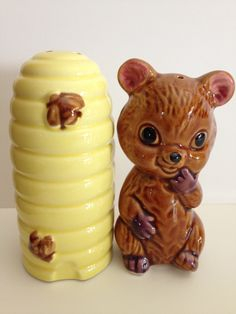Honey Bear and Bee Hive Salt and Pepper Shakers