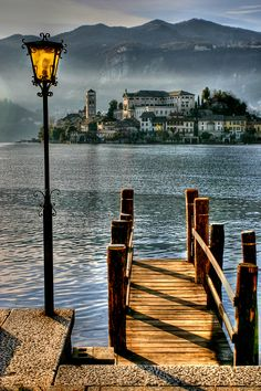 San Giulio Island on Lake Orta in Piedmont, Italy