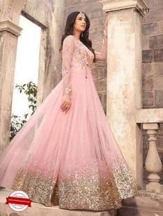 Pink Net Embroidered Anarkali   Shop for anarkali suits at www.natashacouture.com     ❤️ Call / WhatsApp / Viber : +91-9052526627   Free Shipping in India   COD*   Worldwide Shipping ❤️