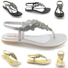 Formal Flat Silver Sandals For Wedding Las Diamante Toe Post Womens Sparkley Dressy Party